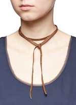 Hammered stud wraparound leather choker