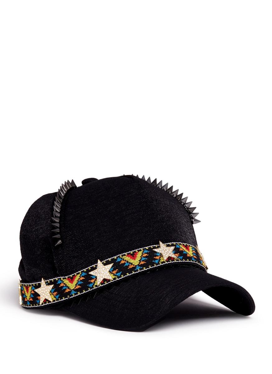 Stud star tribal embroidered baseball cap by Venna