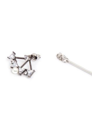 Detail View - Click To Enlarge - Venna - Glass crystal fan pearl drop jacket earrings