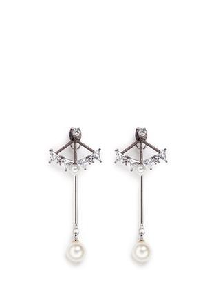 Main View - Click To Enlarge - Venna - Glass crystal fan pearl drop jacket earrings