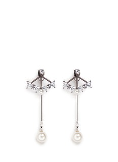 Venna Glass crystal fan pearl drop jacket earrings