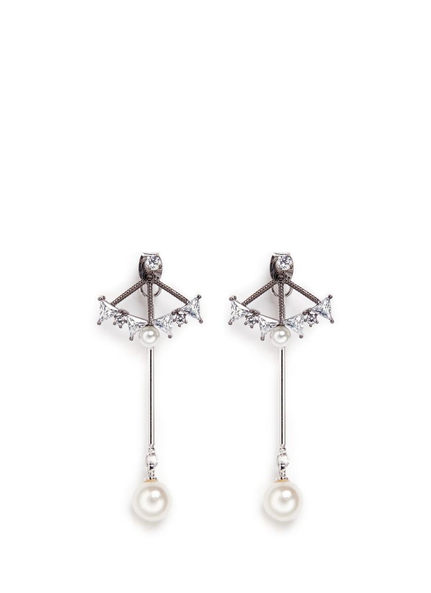 Glass crystal fan pearl drop jacket earrings by Venna