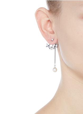 Figure View - Click To Enlarge - Venna - Glass crystal fan pearl drop jacket earrings