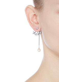 VennaGlass crystal fan pearl drop jacket earrings