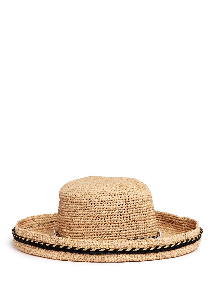 Rope band curled brim raffia hat by Venna