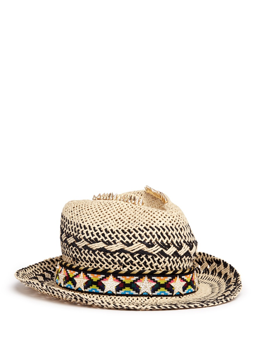 Zircon star tribal band paper straw hat by Venna