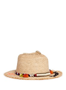 Venna 'Dreaming' beaded pompom embroidered straw hat