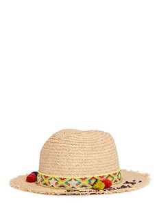 Venna 'Dreaming' tribal embroidered pompom band straw hat