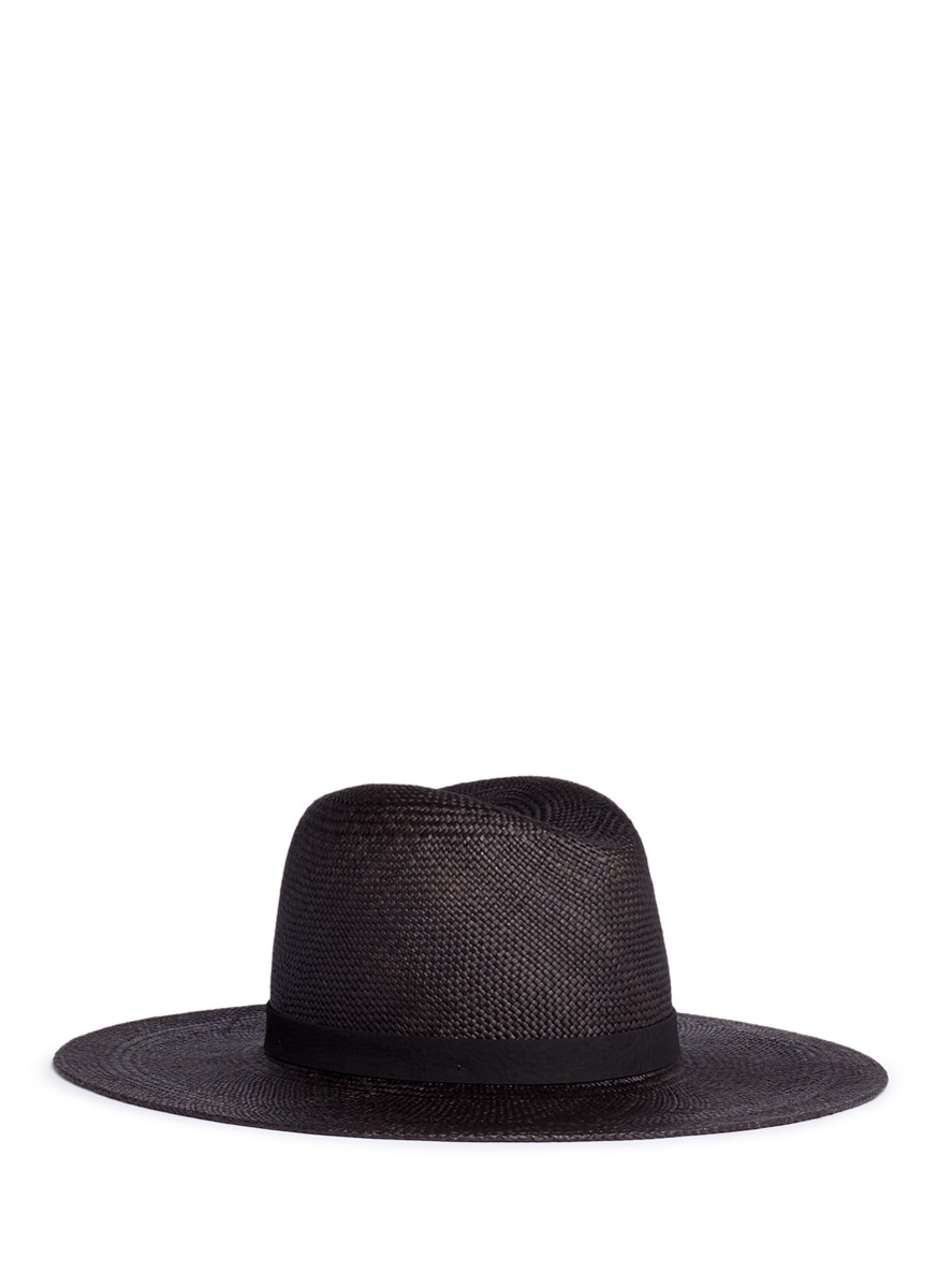 Lynn leather band straw panama hat by Janessa Leone