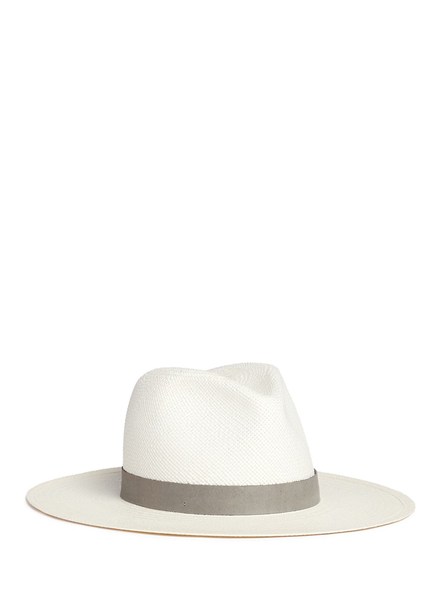Celia leather band straw panama hat by Janessa Leone