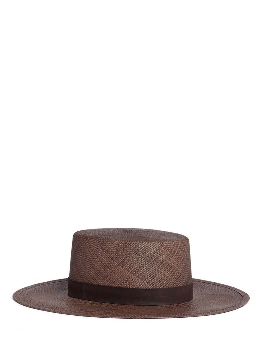 Carolina leather band panama straw boater hat by Janessa Leone