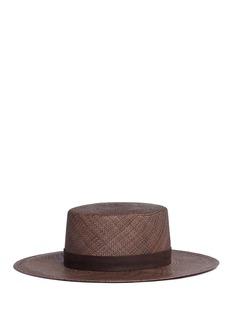 Janessa Leone'Carolina' leather band panama straw boater hat