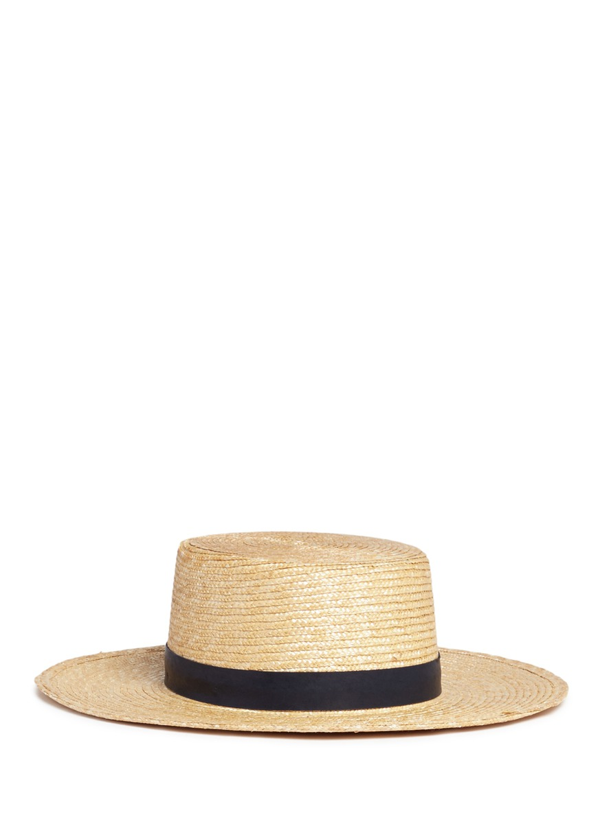 Klint flat top straw panama boater hat by Janessa Leone