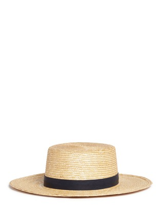 Figure View - Click To Enlarge - Janessa Leone - 'Klint' flat top straw panama boater hat