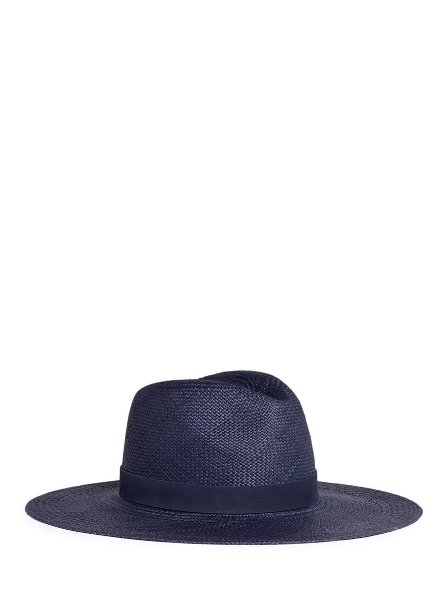 Chloe leather band straw panama hat by Janessa Leone