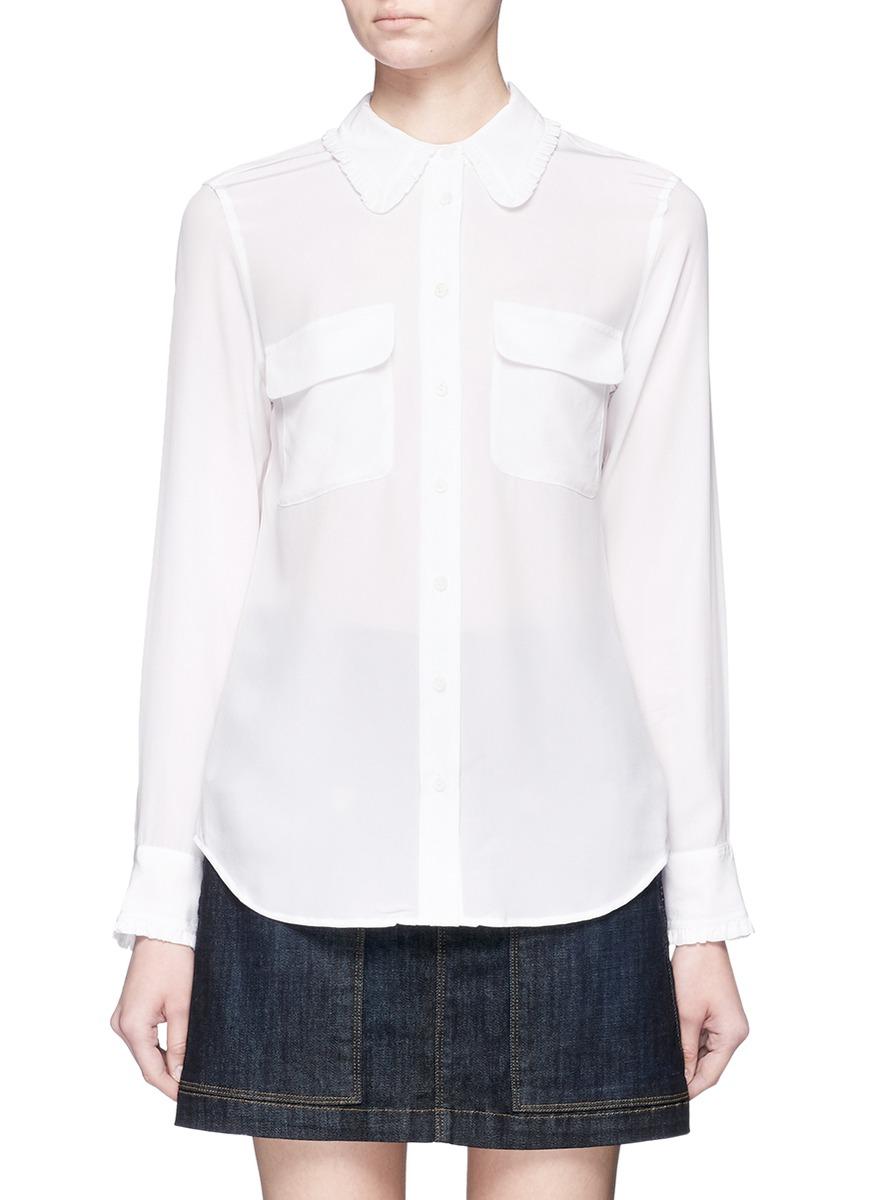 Slim Signature ruffle trim silk shirt by Equipment