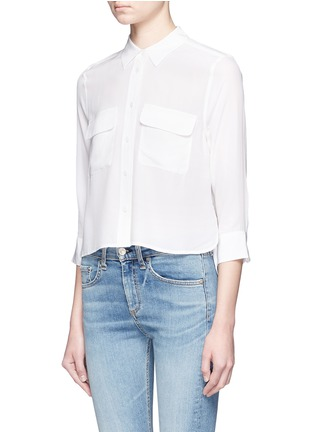 Front View - Click To Enlarge - Equipment - 'Signature' 3/4 sleeve cropped silk shirt