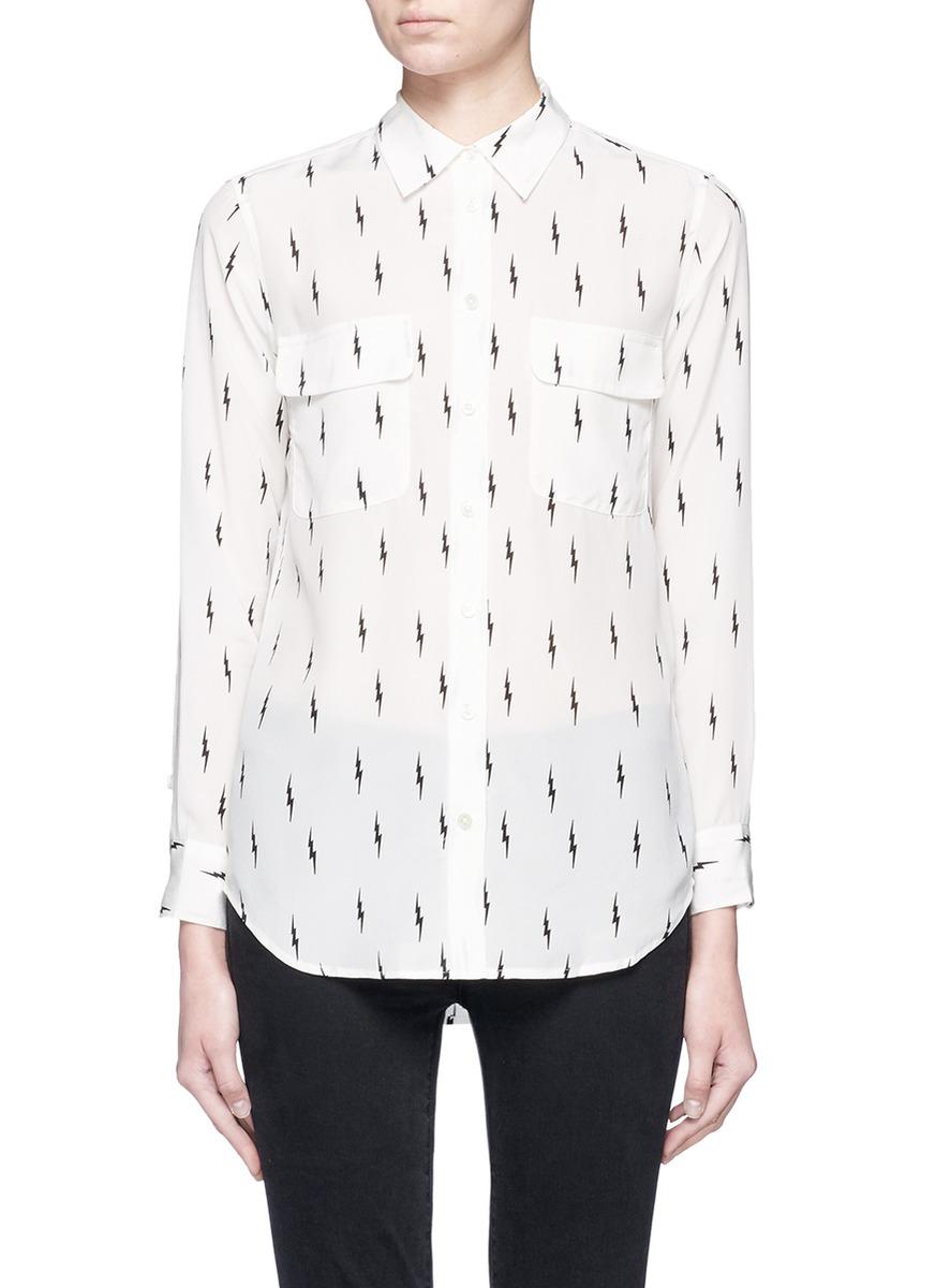 x Kate Moss Slim Signature lightning print silk shirt by Equipment