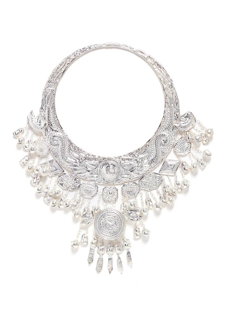 Hammered dragon Miao silver torque necklace by Ms MIN