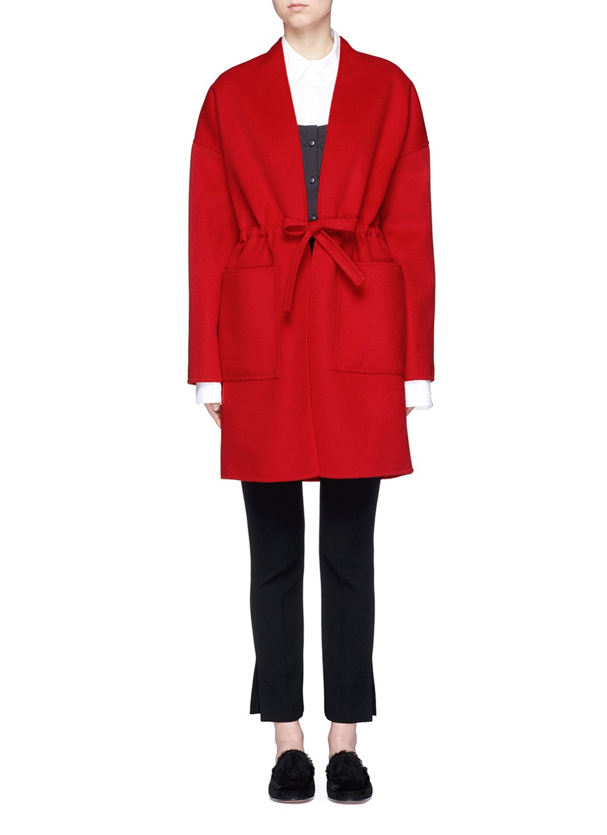 Drawstring waist double faced wool-cashmere coat by Ms MIN