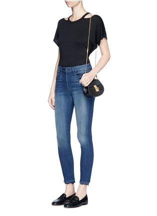 3x1-'W3' frayed cuff cropped skinny jeans