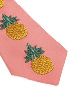 Pineapple embroidery silk crepe tie