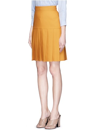 Front View - Click To Enlarge - Gucci - Silk-wool crepe pleat hem skirt
