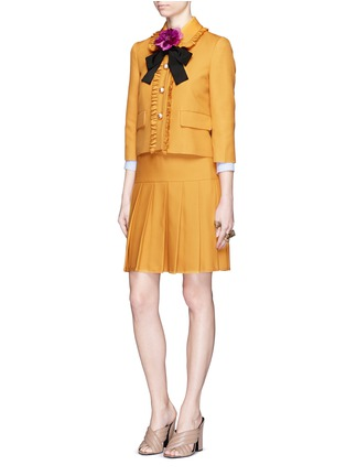 Figure View - Click To Enlarge - Gucci - Silk-wool crepe pleat hem skirt