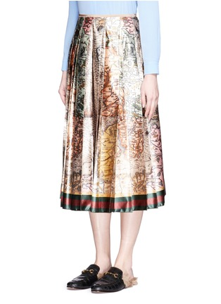 Front View - Click To Enlarge - Gucci - 'Sea Map' print silk duchesse satin skirt