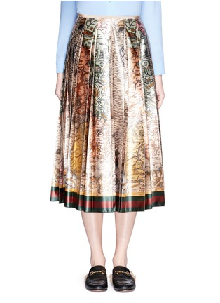 Main View - Click To Enlarge - Gucci - 'Sea Map' print silk duchesse satin skirt