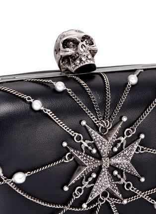 Detail View - Click To Enlarge - Alexander McQueen - Crystal star harness skull leather box clutch