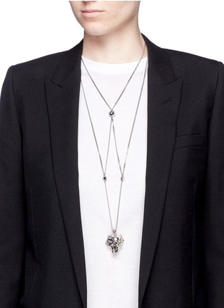 Figure View - Click To Enlarge - Alexander McQueen - Swarovski crystal pavé spider skull harness necklace