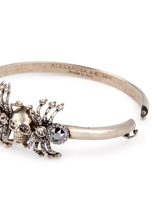 Detail View - Click To Enlarge - Alexander McQueen - Crystal spider skull bracelet