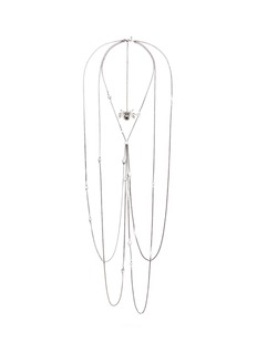ALEXANDER MCQUEENCrystal spider pendant faux pearl harness necklace
