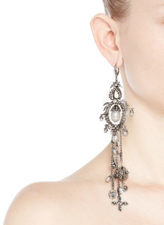 ALEXANDER MCQUEEN Crystal faux pearl fringe drop earrings