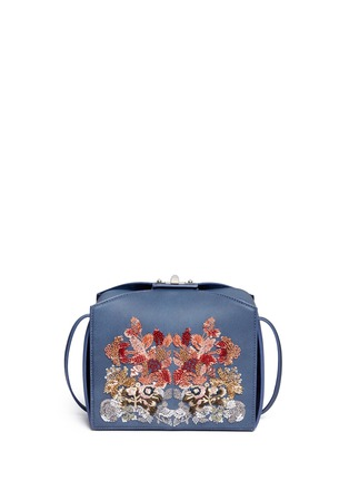 Back View - Click To Enlarge - Alexander McQueen - 'The Box Bag' in sequin floral embroidery