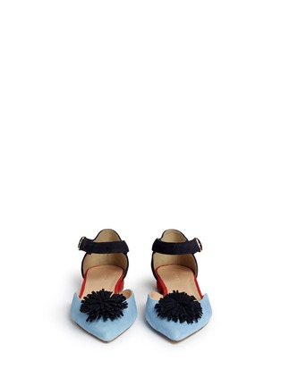 Front View - Click To Enlarge - J.CREW - Colourblock flats with pompoms