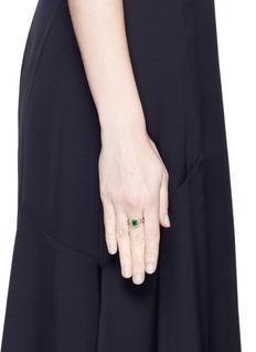 Aishwarya Diamond pavé emerald 18k yellow gold plated ring
