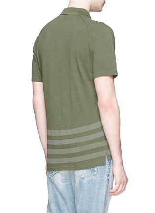 Back View - Click To Enlarge - Denham - 'Joey' raglan sleeve stripe polo T-shirt