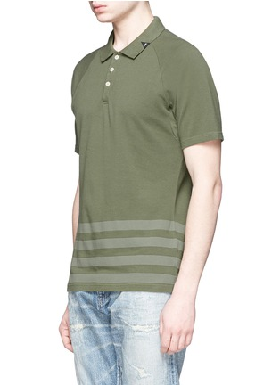 Front View - Click To Enlarge - Denham - 'Joey' raglan sleeve stripe polo T-shirt