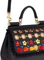 'Miss Sicily' medium mix cartwheel appliqué leather satchel
