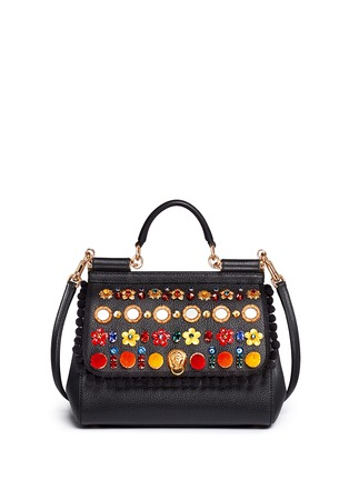 Main View - Click To Enlarge - Dolce & Gabbana - 'Miss Sicily' medium mix cartwheel appliqué leather satchel