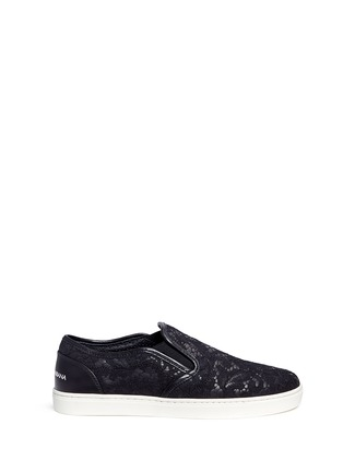 Main View - Click To Enlarge - Dolce & Gabbana - Taormina lace leather skate slip-ons