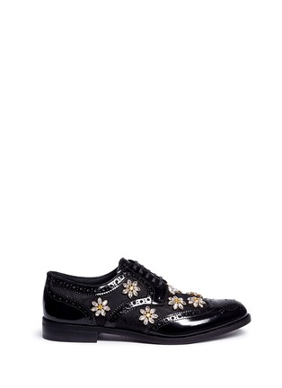 Main View - Click To Enlarge - Dolce & Gabbana - 'Boy' jewelled daisy jacquard leather brogues