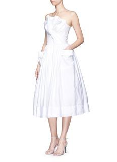 MATICEVSKI'Magic Heart' structured bow poplin strapless dress
