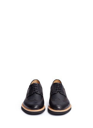 Front View - Click To Enlarge - Armani Collezioni - Longwing brogue leather Derbies
