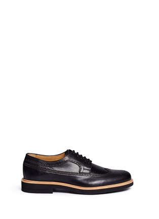 Main View - Click To Enlarge - Armani Collezioni - Longwing brogue leather Derbies