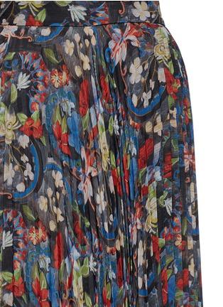 Detail View - Click To Enlarge - alice + olivia - 'Shannon' floral print plissé pleat chiffon maxi skirt