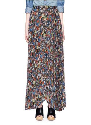 Main View - Click To Enlarge - alice + olivia - 'Shannon' floral print plissé pleat chiffon maxi skirt