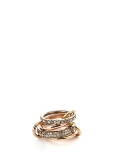 Spinelli Kilcollin 'Scorpio' diamond 18k rose gold silver four link ring